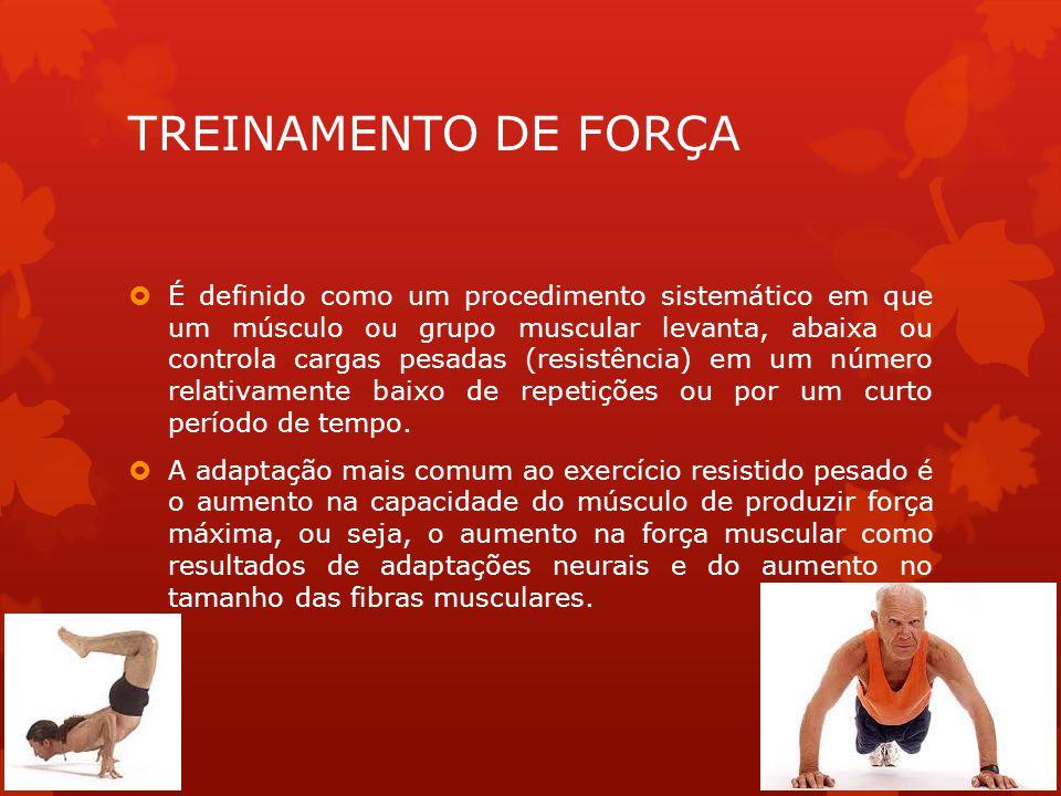 TREINAMENTO DE FORÇA É definido como um procedimento sistemático em que um músculo ou grupo muscular levanta, abaixa ou controla cargas pesadas (resis