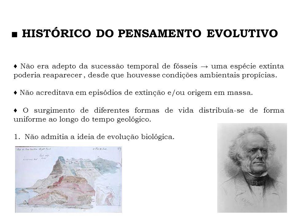 Não era adepto da sucessão temporal de fósseis uma espécie extinta poderia reaparecer, desde que houvesse condições ambientais propícias. Não acredita