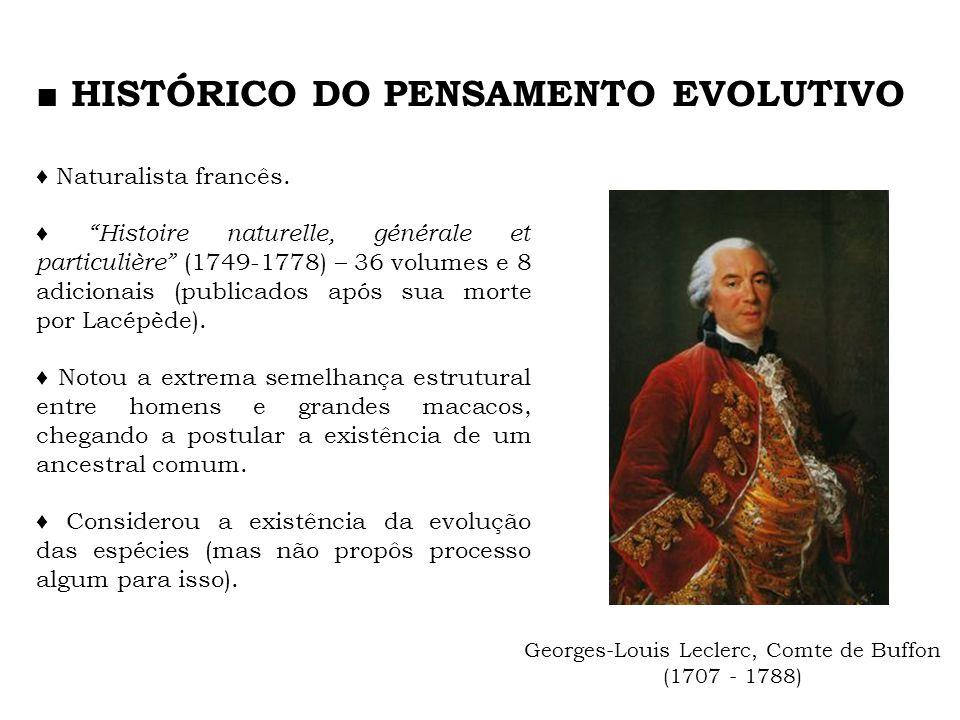 Georges-Louis Leclerc, Comte de Buffon (1707 - 1788) Naturalista francês. Histoire naturelle, générale et particulière (1749-1778) – 36 volumes e 8 ad