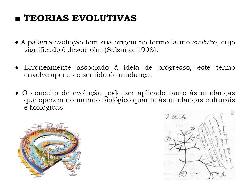 TEORIAS EVOLUTIVAS A palavra evolução tem sua origem no termo latino evolutio, cujo significado é desenrolar (Salzano, 1993). Erroneamente associado à