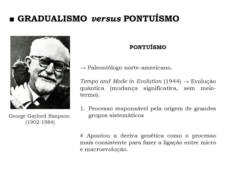 PONTUÍSMO Paleontólogo norte-americano. Tempo and Mode in Evolution (1944) Evolução quântica (mudança significativa, sem meio- termo). 1.Processo resp