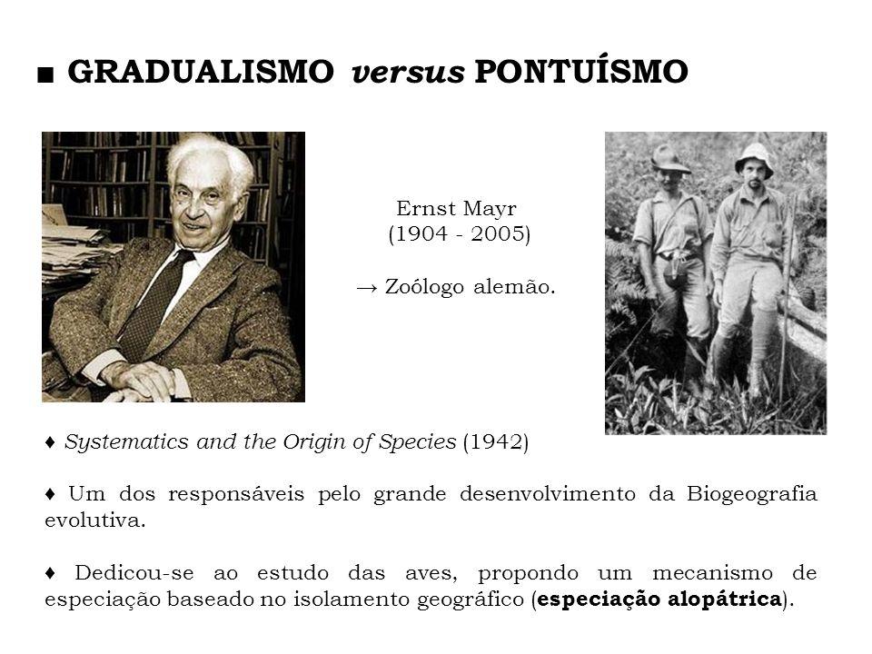 Ernst Mayr (1904 - 2005) Zoólogo alemão. Systematics and the Origin of Species (1942) Um dos responsáveis pelo grande desenvolvimento da Biogeografia