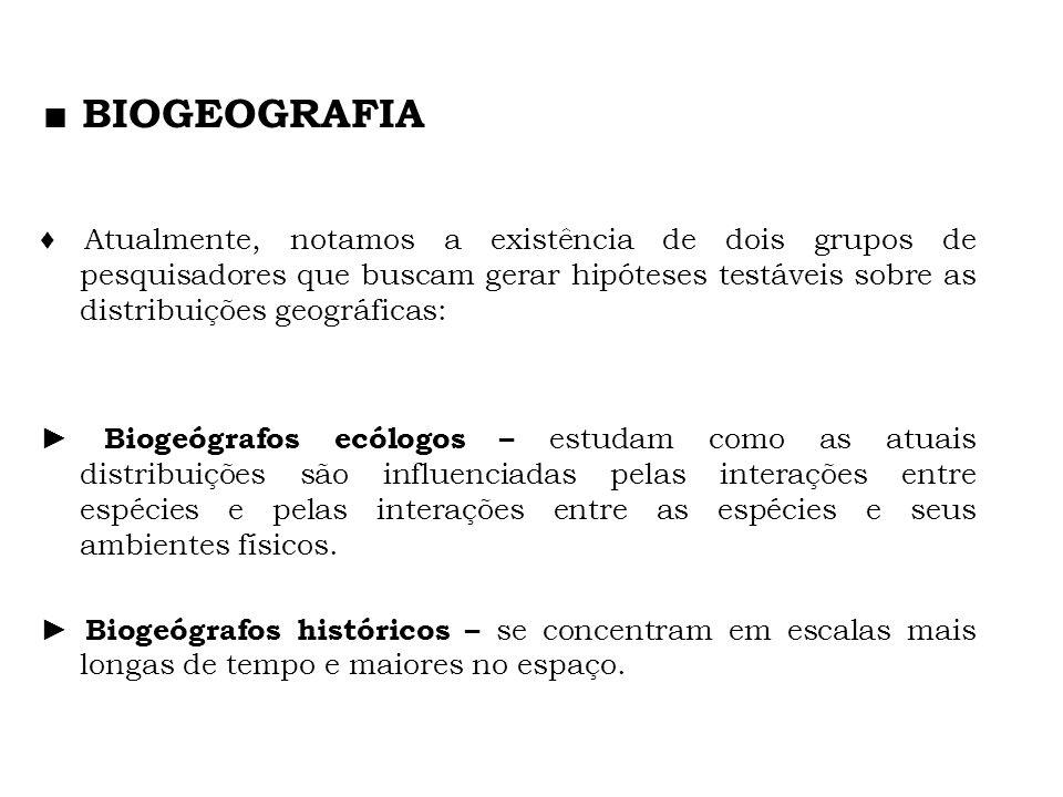 Atualmente, notamos a existência de dois grupos de pesquisadores que buscam gerar hipóteses testáveis sobre as distribuições geográficas: Biogeógrafos