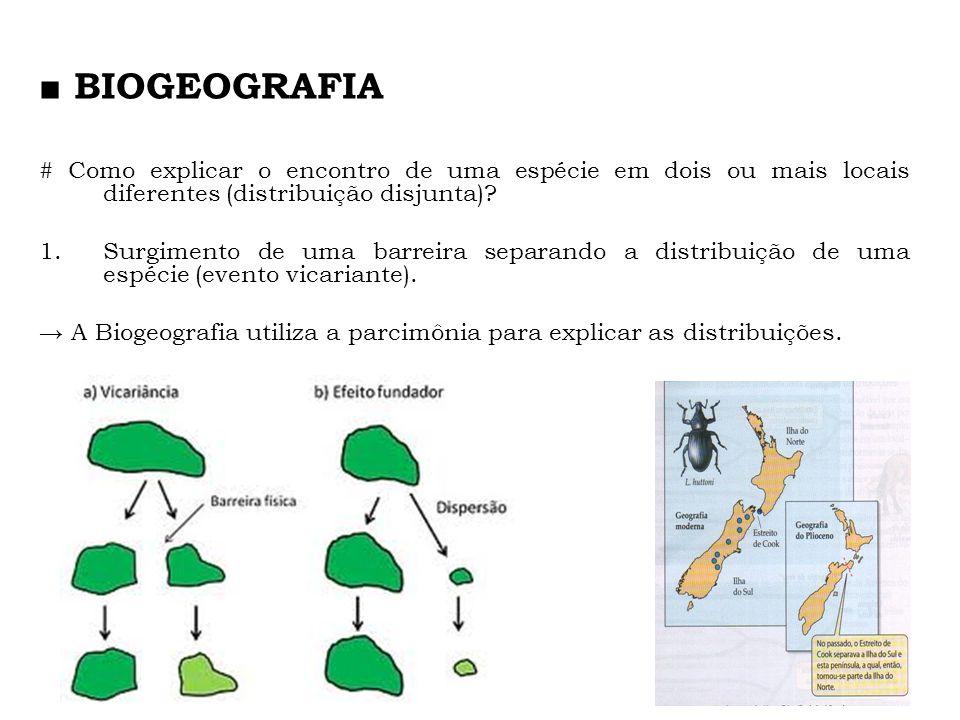 # Como explicar o encontro de uma espécie em dois ou mais locais diferentes (distribuição disjunta)? 1.Surgimento de uma barreira separando a distribu