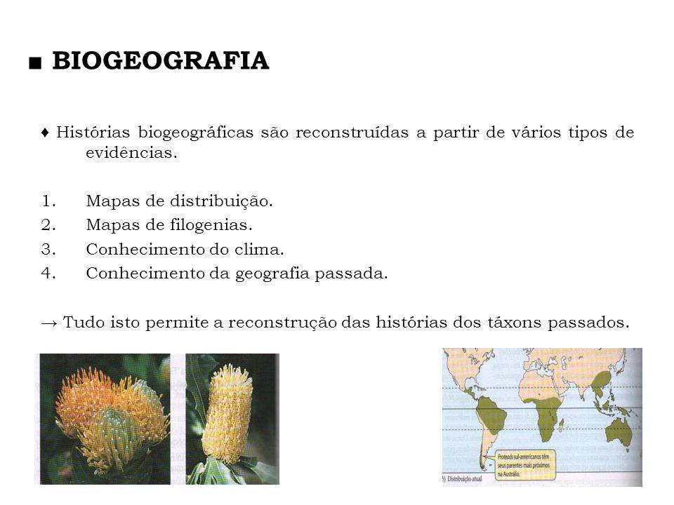 Histórias biogeográficas são reconstruídas a partir de vários tipos de evidências. 1.Mapas de distribuição. 2.Mapas de filogenias. 3.Conhecimento do c