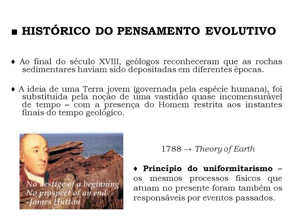 HISTÓRICO DO PENSAMENTO EVOLUTIVO Ao final do século XVIII, geólogos reconheceram que as rochas sedimentares haviam sido depositadas em diferentes épo