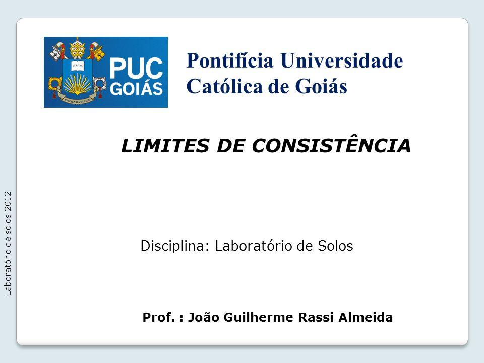 LIMITES DE CONSISTÊNCIA Laboratório de solos 2012 Prof. : João Guilherme Rassi Almeida Disciplina: Laboratório de Solos Pontifícia Universidade Católi