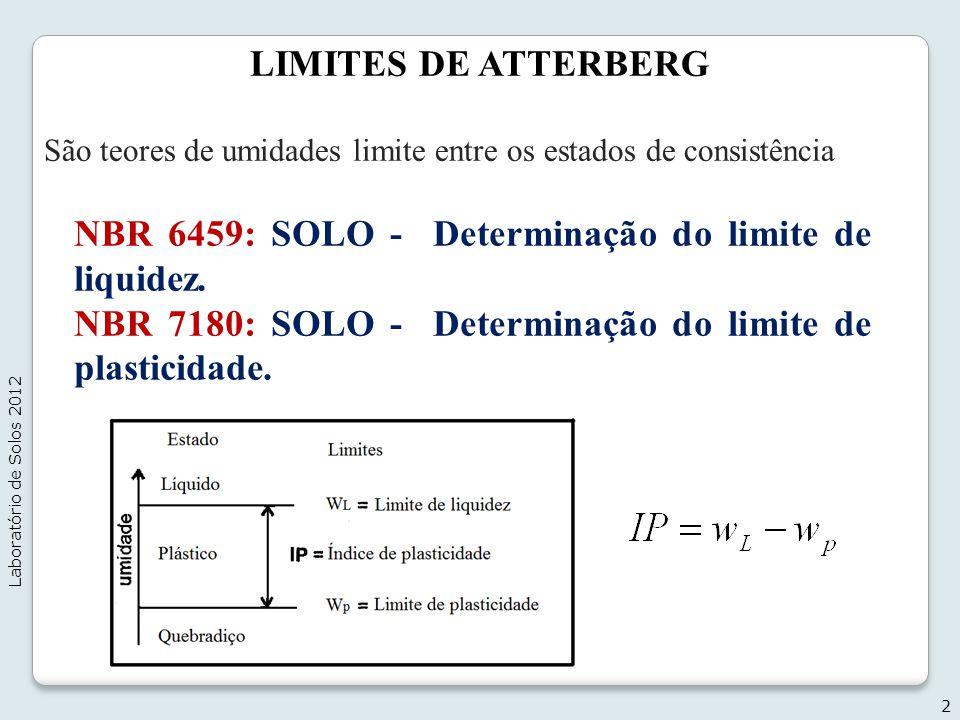LIMITES DE ATTERBERG São teores de umidades limite entre os estados de consistência NBR 6459: SOLO - Determinação do limite de liquidez. NBR 7180: SOL