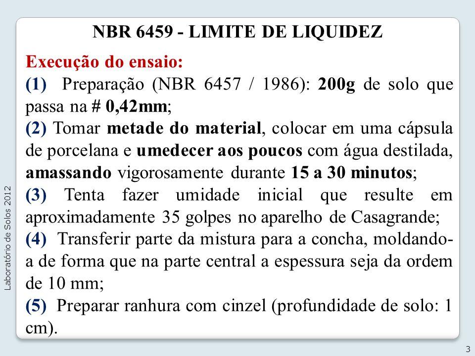 NBR 6459 - LIMITE DE LIQUIDEZ Execução do ensaio: (1) Preparação (NBR 6457 / 1986): 200g de solo que passa na # 0,42mm; (2) Tomar metade do material,