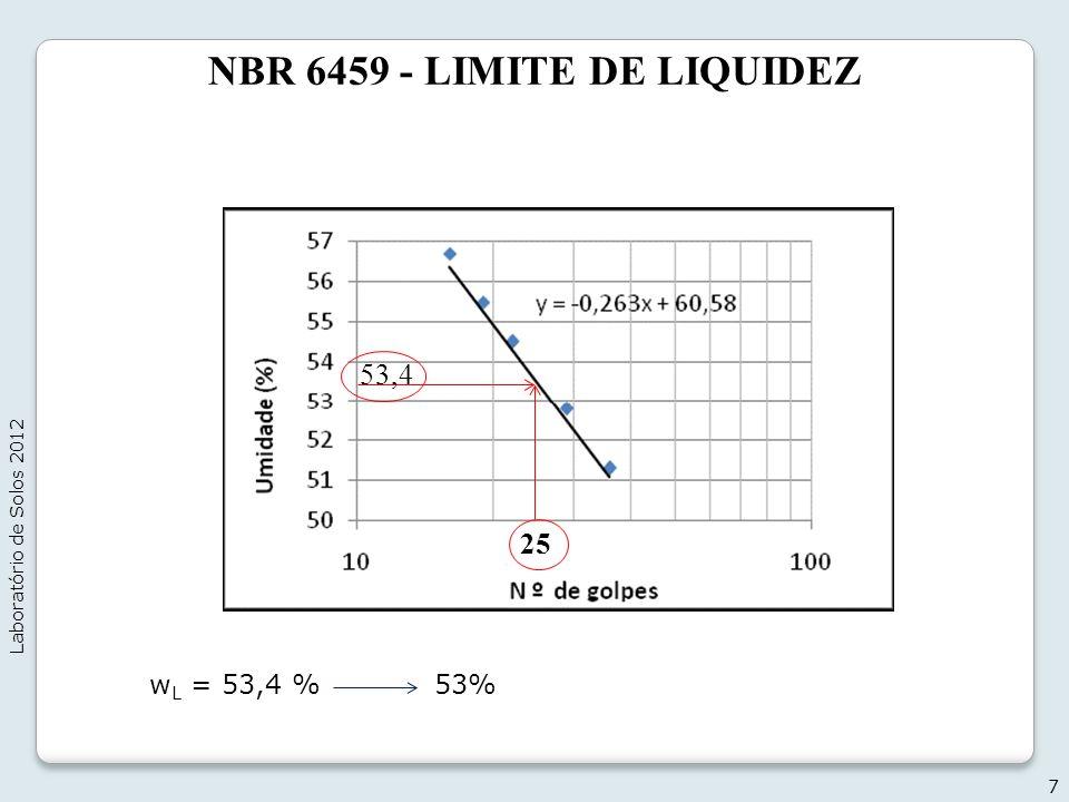 NBR 6459 - LIMITE DE LIQUIDEZ 7 Laboratório de Solos 2012 25 53,4 w L = 53,4 % 53%