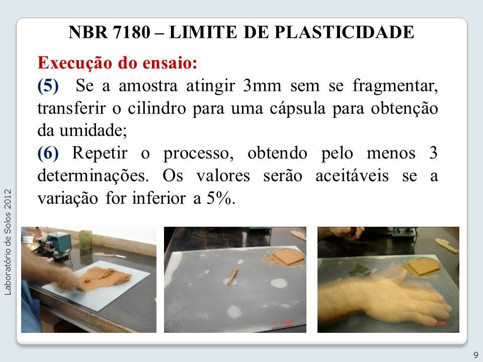 NBR 7180 – LIMITE DE PLASTICIDADE Execução do ensaio: (5) Se a amostra atingir 3mm sem se fragmentar, transferir o cilindro para uma cápsula para obte