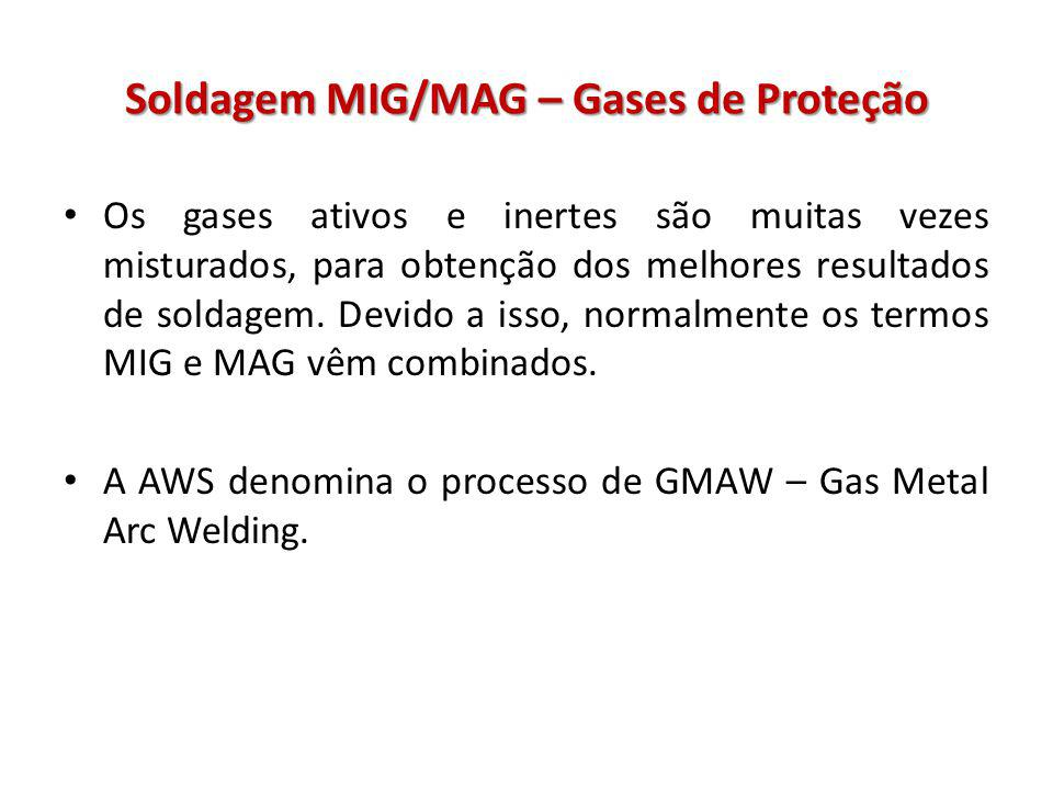 Soldagem MIG/MAG – Gases de Proteção Os gases ativos e inertes são muitas vezes misturados, para obtenção dos melhores resultados de soldagem. Devido
