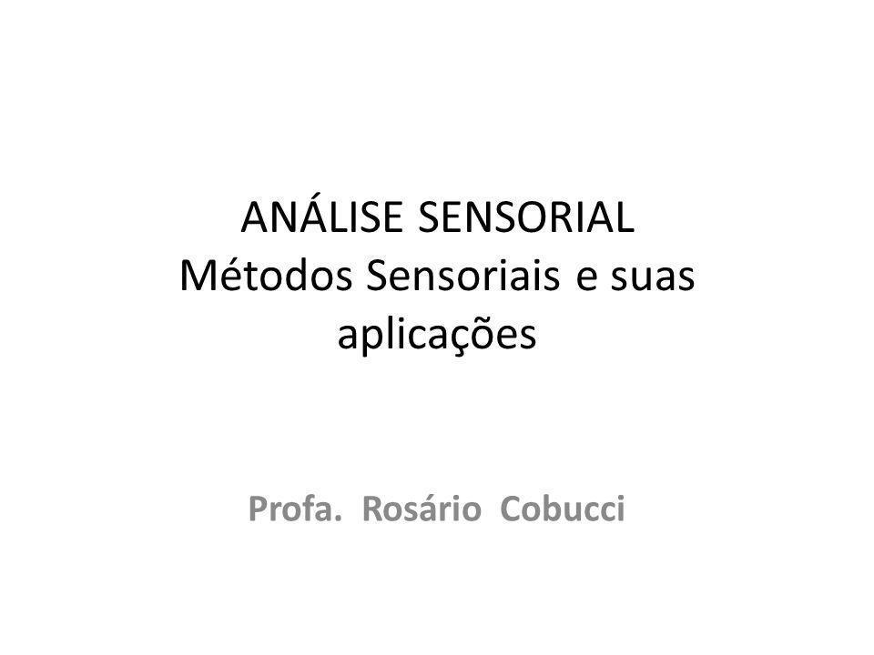 ANÁLISE SENSORIAL Métodos Sensoriais e suas aplicações Profa. Rosário Cobucci