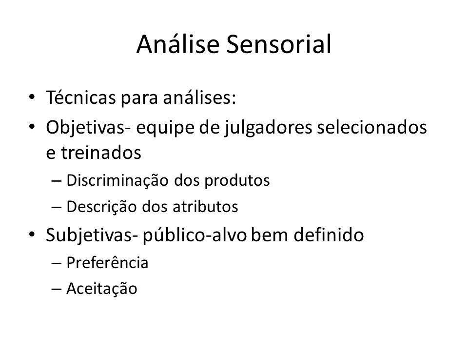 Análise Sensorial Técnicas para análises: Objetivas- equipe de julgadores selecionados e treinados – Discriminação dos produtos – Descrição dos atribu