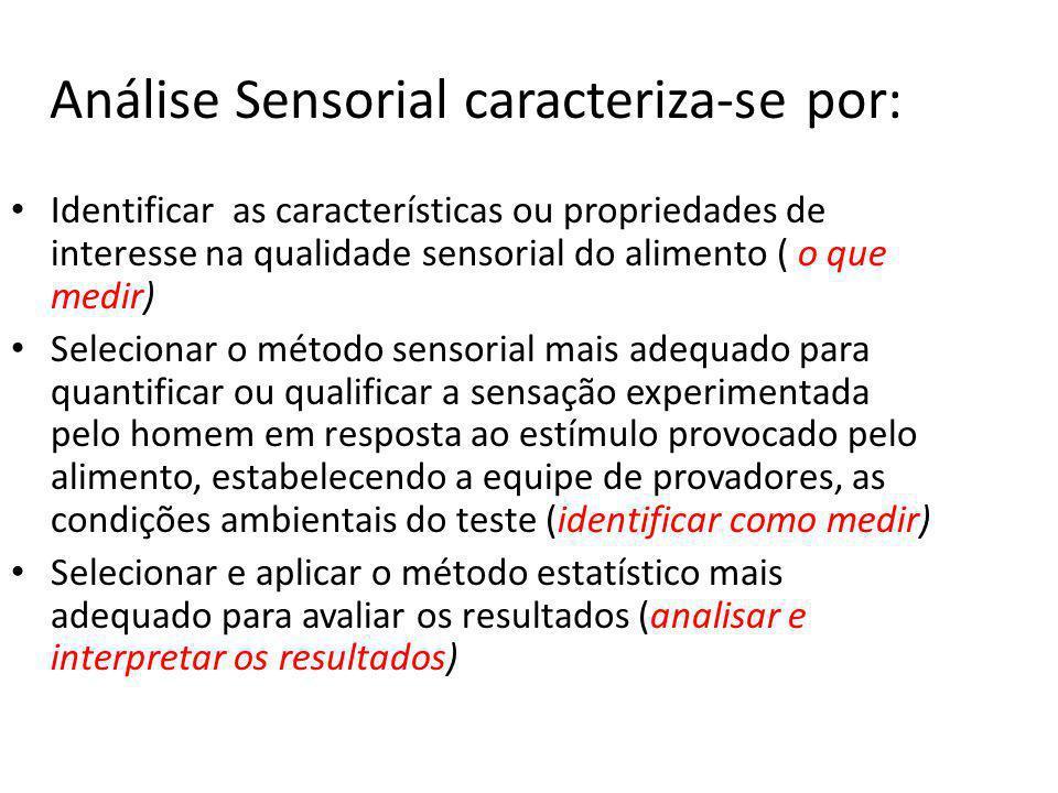 Análise Sensorial caracteriza-se por: Identificar as características ou propriedades de interesse na qualidade sensorial do alimento ( o que medir) Se