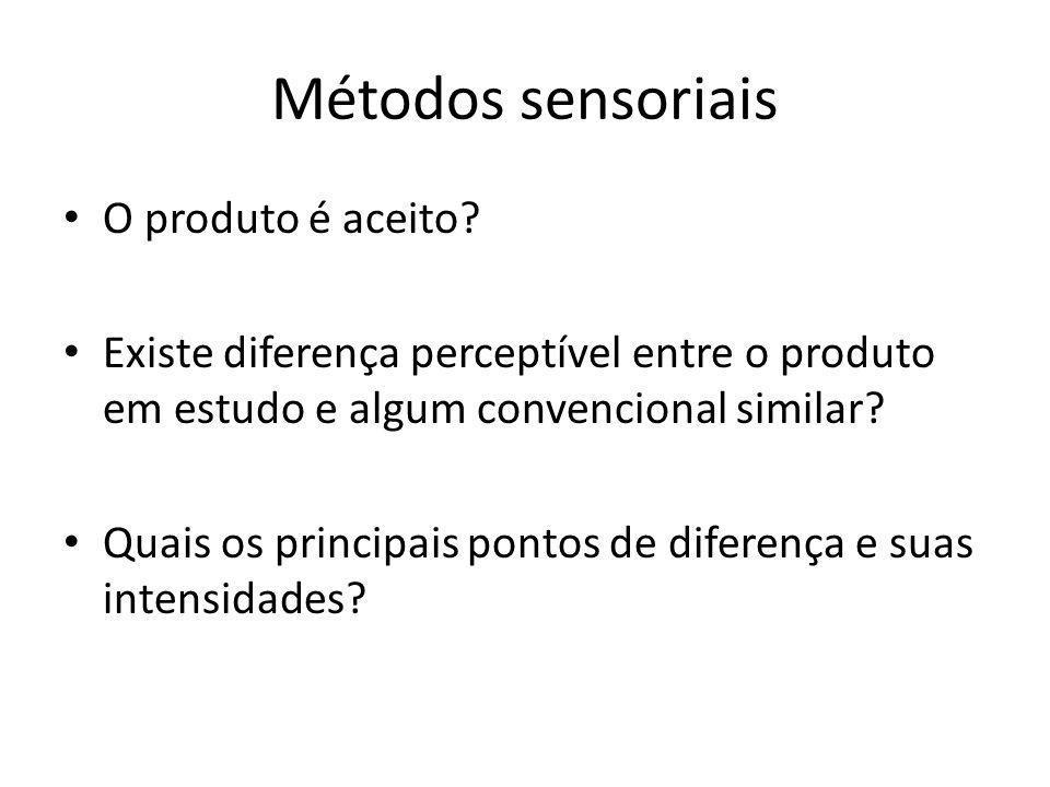 Métodos sensoriais O produto é aceito? Existe diferença perceptível entre o produto em estudo e algum convencional similar? Quais os principais pontos