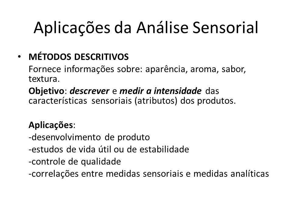 Aplicações da Análise Sensorial MÉTODOS DESCRITIVOS Fornece informações sobre: aparência, aroma, sabor, textura. Objetivo: descrever e medir a intensi