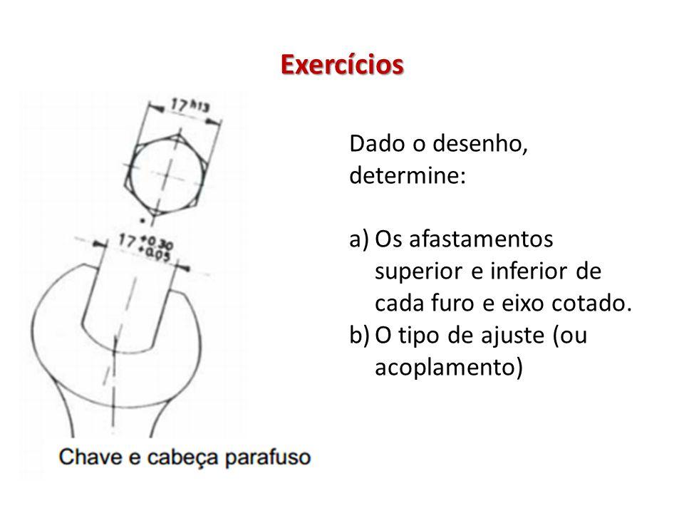Exercícios Dado o desenho, determine: a)Os afastamentos superior e inferior de cada furo e eixo cotado.