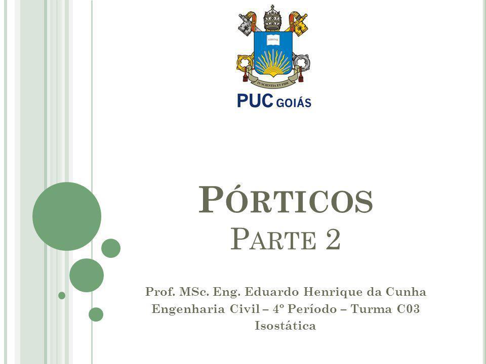 Prof. MSc. Eng. Eduardo Henrique da Cunha Engenharia Civil – 4º Período – Turma C03 Isostática P ÓRTICOS P ARTE 2