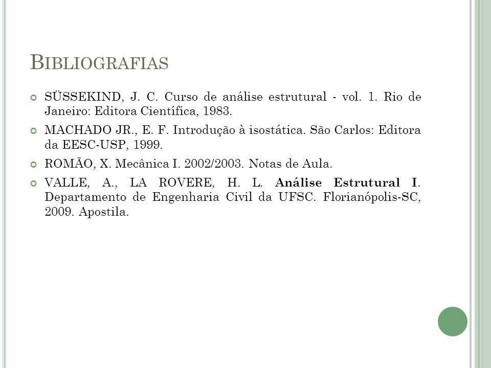 B IBLIOGRAFIAS SÜSSEKIND, J. C. Curso de análise estrutural - vol. 1. Rio de Janeiro: Editora Científica, 1983. MACHADO JR., E. F. Introdução à isostá