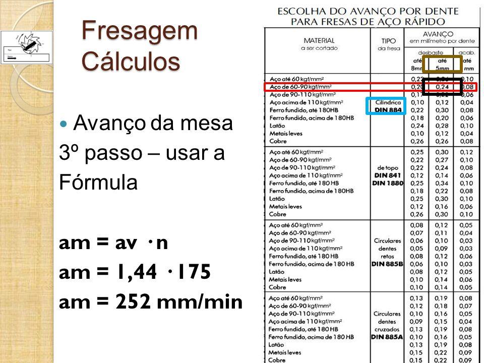 Fresagem Cálculos Avanço da mesa 3º passo – usar a Fórmula am = av · n am = 1,44 · 175 am = 252 mm/min
