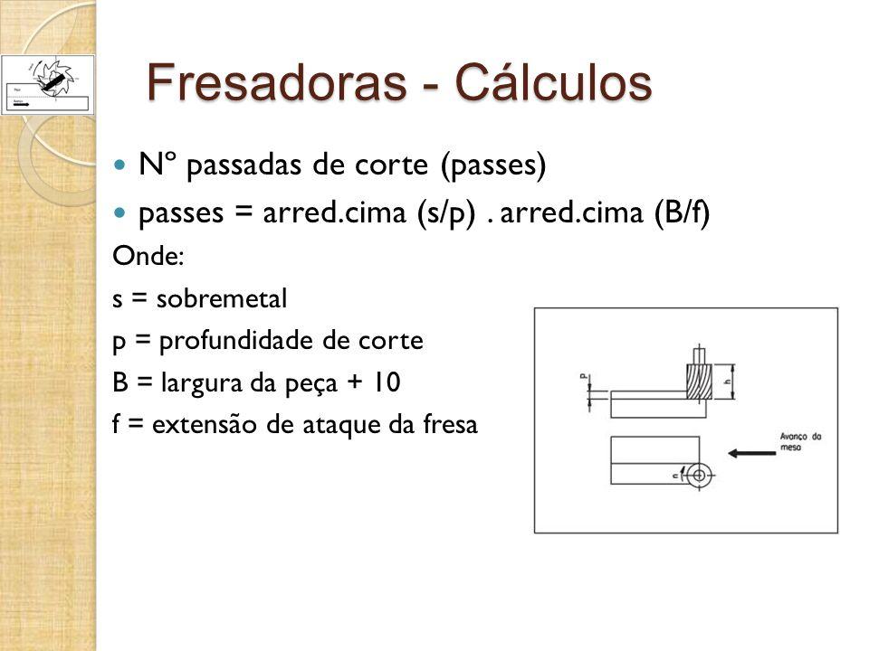 Fresadoras - Cálculos Nº passadas de corte (passes) passes = arred.cima (s/p). arred.cima (B/f) Onde: s = sobremetal p = profundidade de corte B = lar