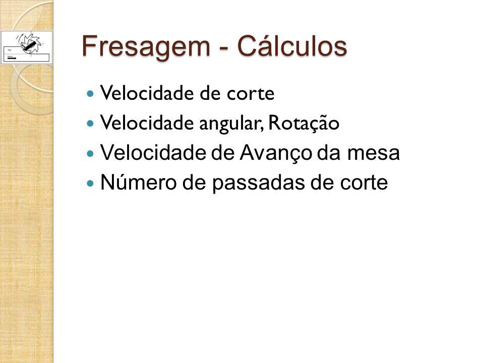 Fresagem - Cálculos Velocidade de corte Velocidade angular, Rotação Velocidade de Avanço da mesa Número de passadas de corte
