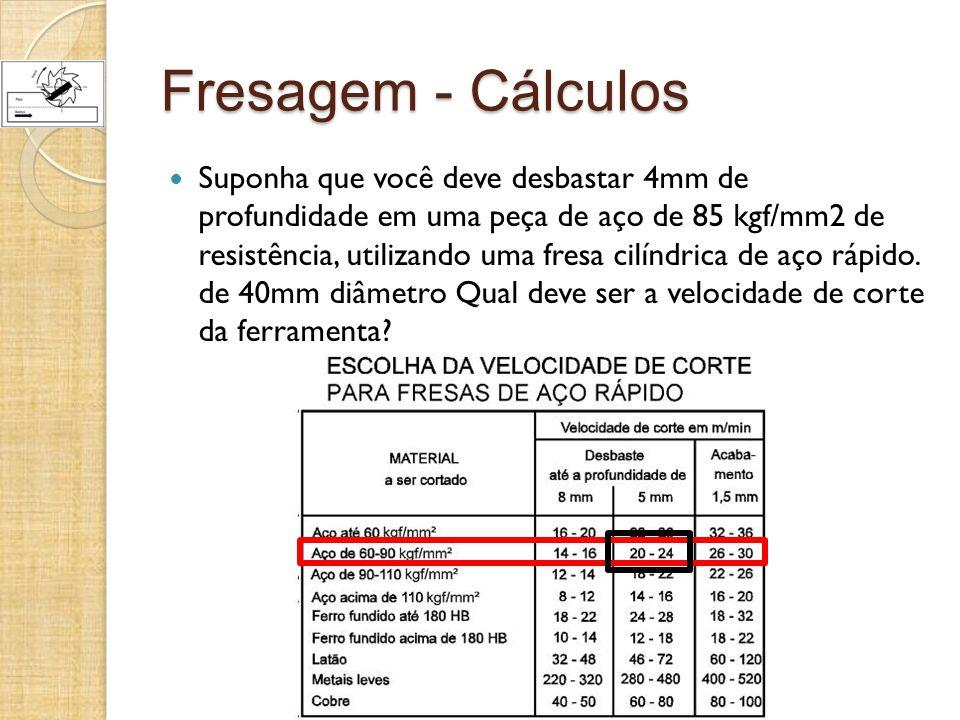 Fresagem - Cálculos Suponha que você deve desbastar 4mm de profundidade em uma peça de aço de 85 kgf/mm2 de resistência, utilizando uma fresa cilíndri