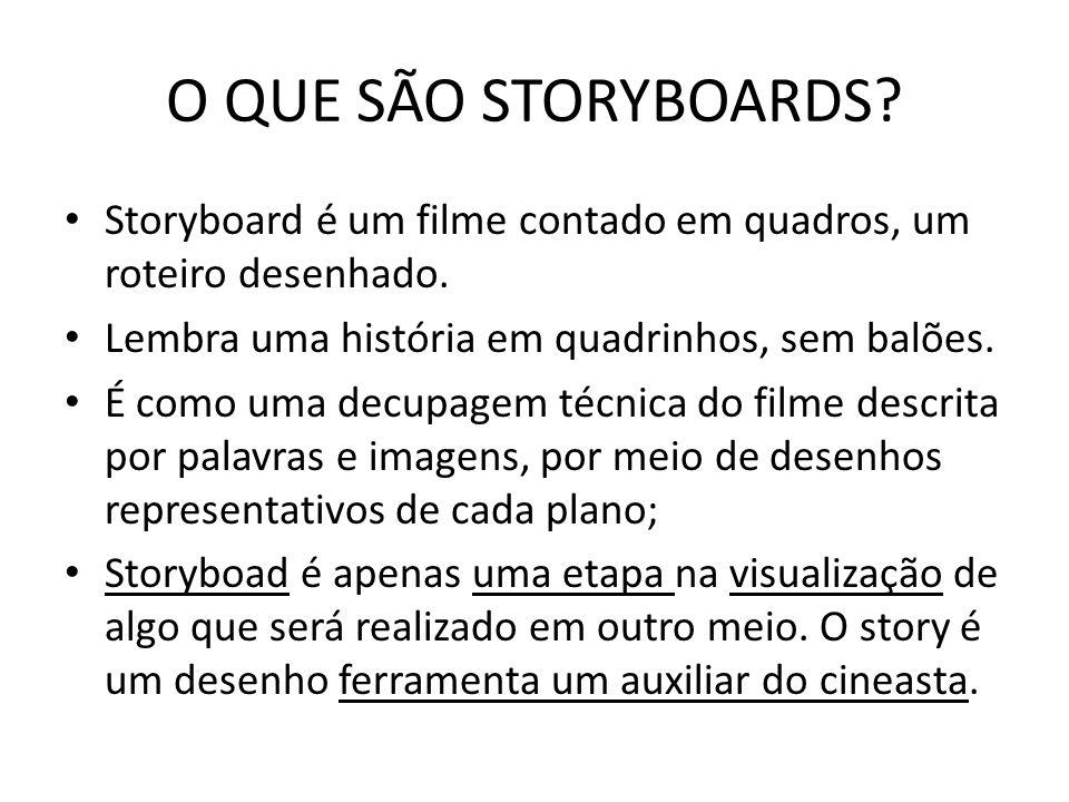 O QUE SÃO STORYBOARDS? Storyboard é um filme contado em quadros, um roteiro desenhado. Lembra uma história em quadrinhos, sem balões. É como uma decup