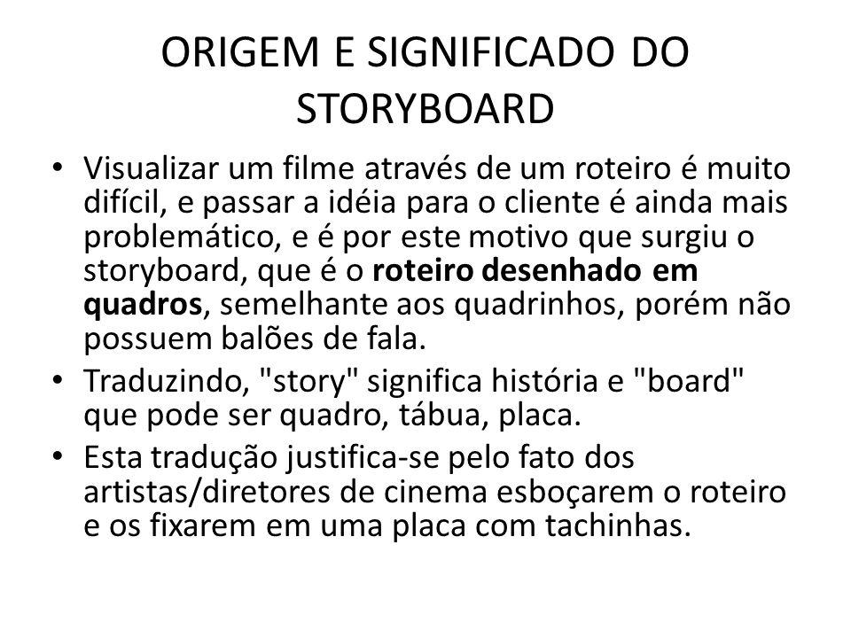 ORIGEM E SIGNIFICADO DO STORYBOARD Visualizar um filme através de um roteiro é muito difícil, e passar a idéia para o cliente é ainda mais problemátic