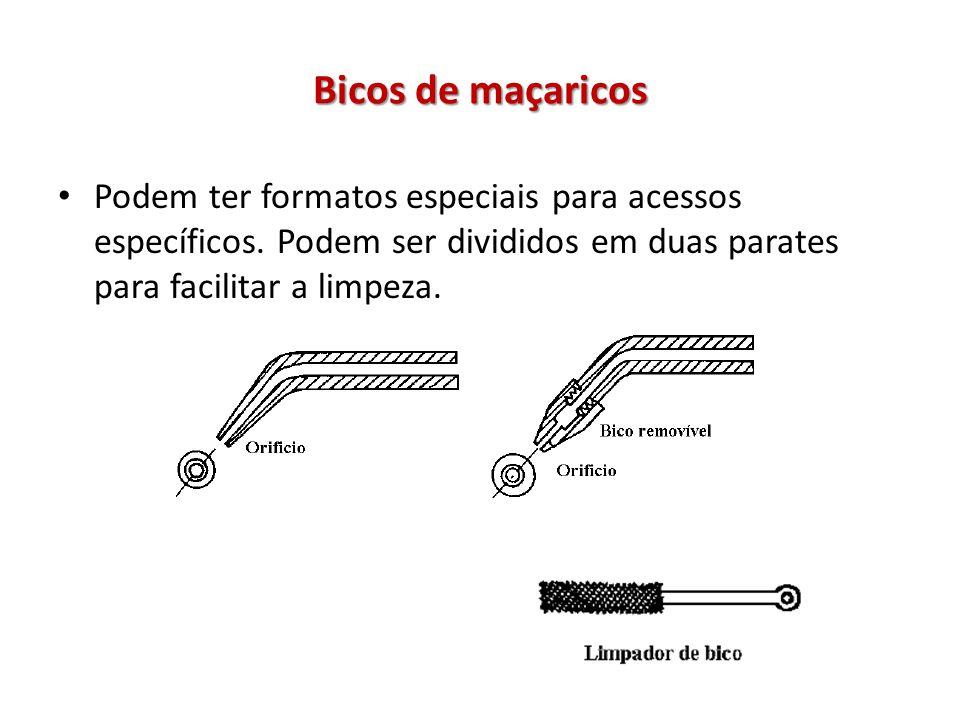 Bicos de maçaricos Podem ter formatos especiais para acessos específicos. Podem ser divididos em duas parates para facilitar a limpeza.