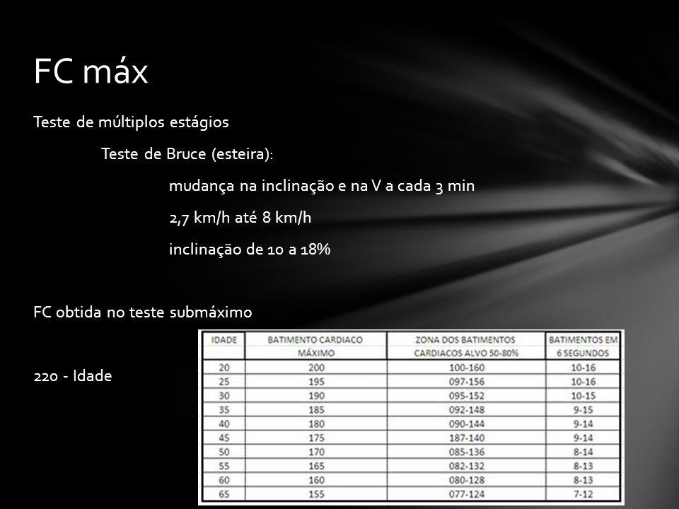 Teste de múltiplos estágios Teste de Bruce (esteira): mudança na inclinação e na V a cada 3 min 2,7 km/h até 8 km/h inclinação de 10 a 18% FC obtida no teste submáximo 220 - Idade FC máx