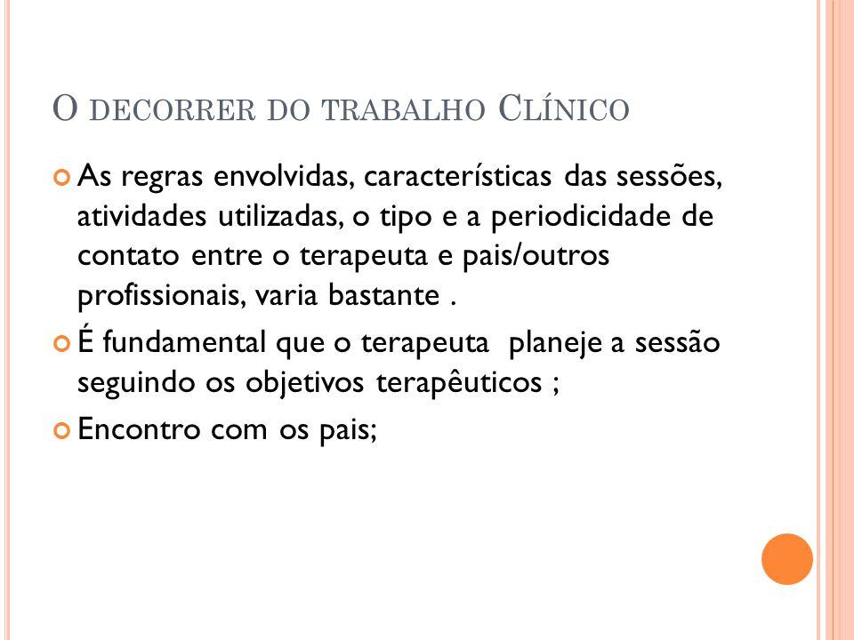 O DECORRER DO TRABALHO C LÍNICO As regras envolvidas, características das sessões, atividades utilizadas, o tipo e a periodicidade de contato entre o