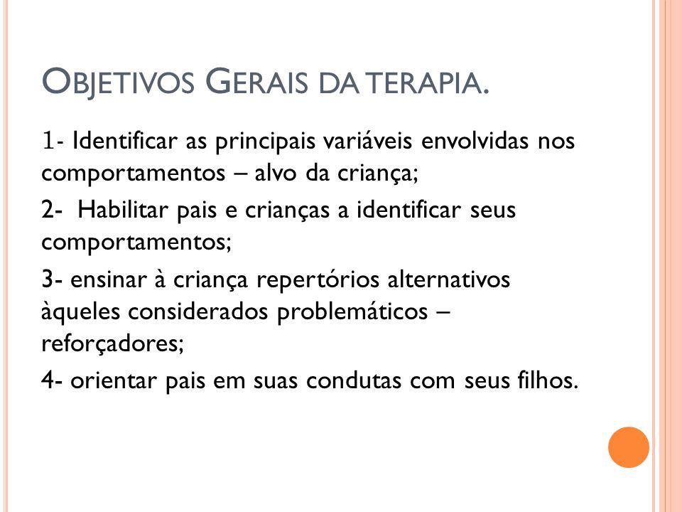 O BJETIVOS G ERAIS DA TERAPIA. 1- Identificar as principais variáveis envolvidas nos comportamentos – alvo da criança; 2- Habilitar pais e crianças a