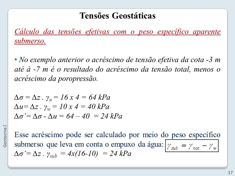 Tensões Geostáticas Cálculo das tensões efetivas com o peso específico aparente submerso. No exemplo anterior o acréscimo de tensão efetiva da cota -3
