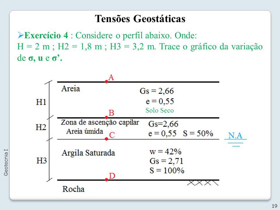 Tensões Geostáticas Exercício 4 : Considere o perfil abaixo. Onde: H = 2 m ; H2 = 1,8 m ; H3 = 3,2 m. Trace o gráfico da variação de σ, u e σ. 19 Geot