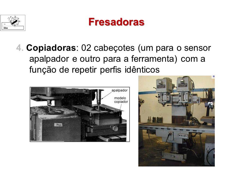 Fresadoras 4. Copiadoras: 02 cabeçotes (um para o sensor apalpador e outro para a ferramenta) com a função de repetir perfis idênticos