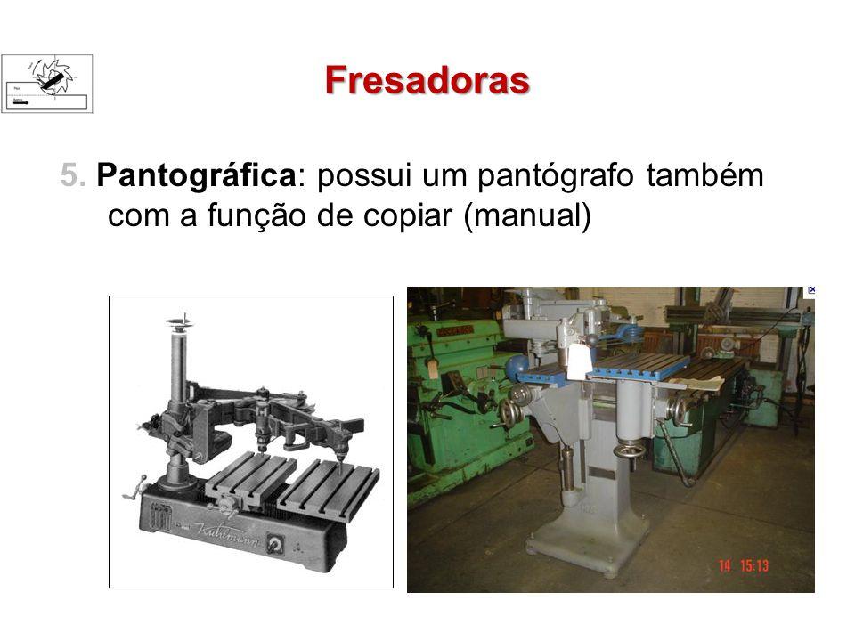 Fresadoras 5. Pantográfica: possui um pantógrafo também com a função de copiar (manual)