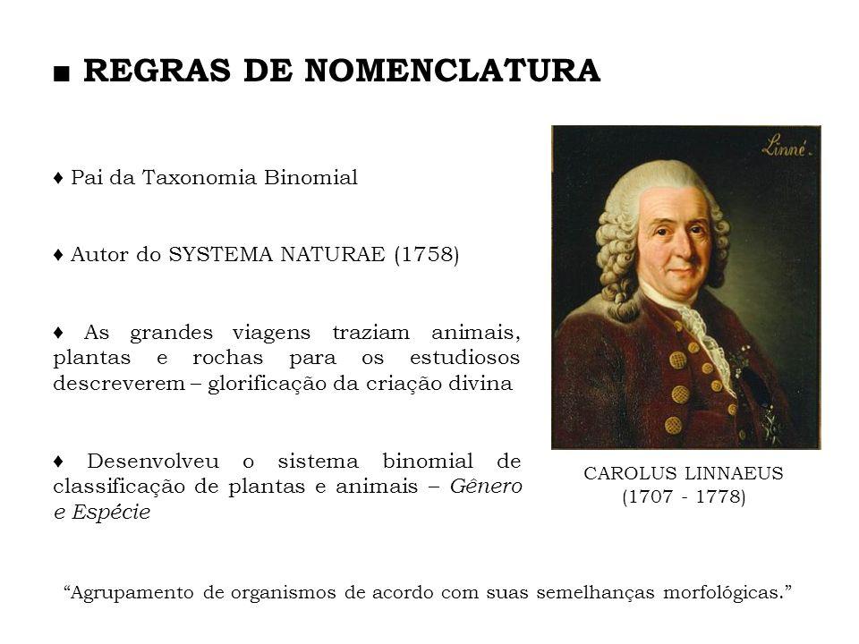 CAROLUS LINNAEUS (1707 - 1778) Pai da Taxonomia Binomial Autor do SYSTEMA NATURAE (1758) As grandes viagens traziam animais, plantas e rochas para os