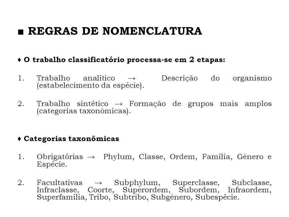 O trabalho classificatório processa-se em 2 etapas: 1.Trabalho analítico Descrição do organismo (estabelecimento da espécie). 2.Trabalho sintético For