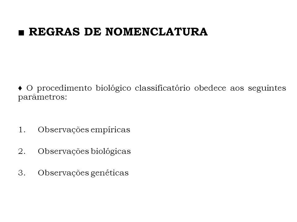 O procedimento biológico classificatório obedece aos seguintes parâmetros: 1.Observações empíricas 2.Observações biológicas 3.Observações genéticas RE