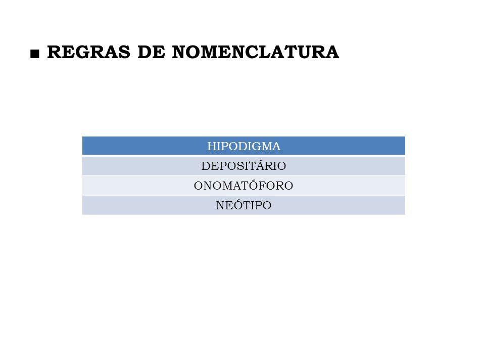 HIPODIGMA DEPOSITÁRIO ONOMATÓFORO NEÓTIPO
