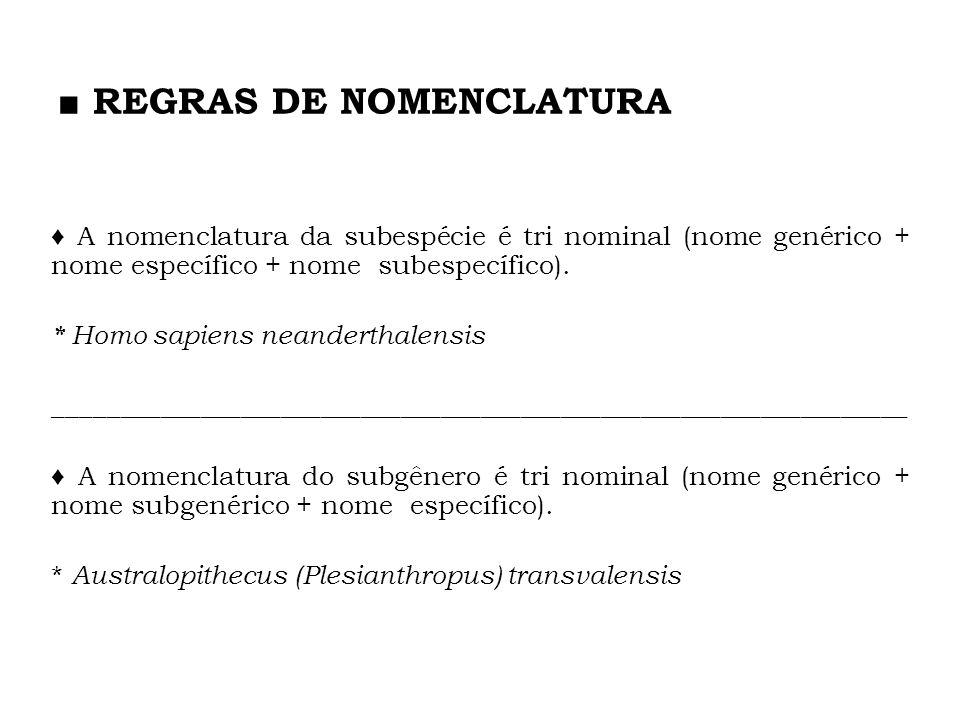A nomenclatura da subespécie é tri nominal (nome genérico + nome específico + nome subespecífico). * Homo sapiens neanderthalensis ___________________