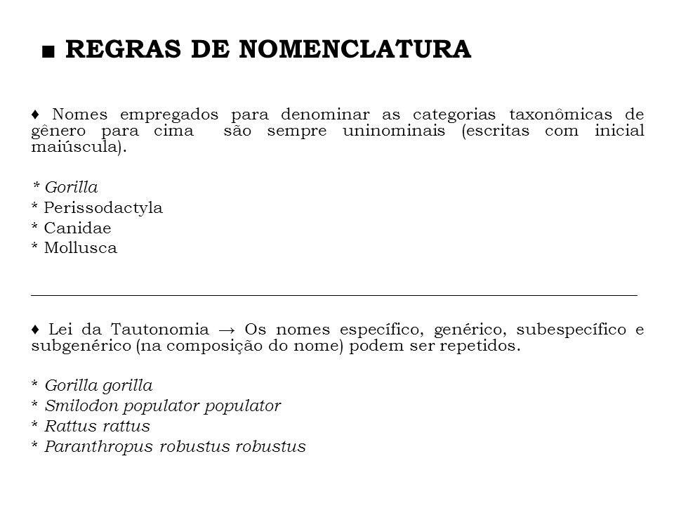 Nomes empregados para denominar as categorias taxonômicas de gênero para cima são sempre uninominais (escritas com inicial maiúscula). * Gorilla * Per