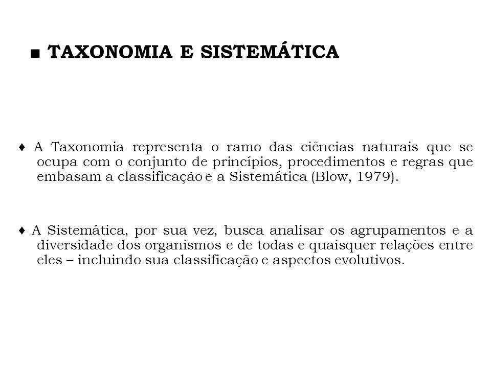 TAXONOMIA E SISTEMÁTICA A Taxonomia representa o ramo das ciências naturais que se ocupa com o conjunto de princípios, procedimentos e regras que emba