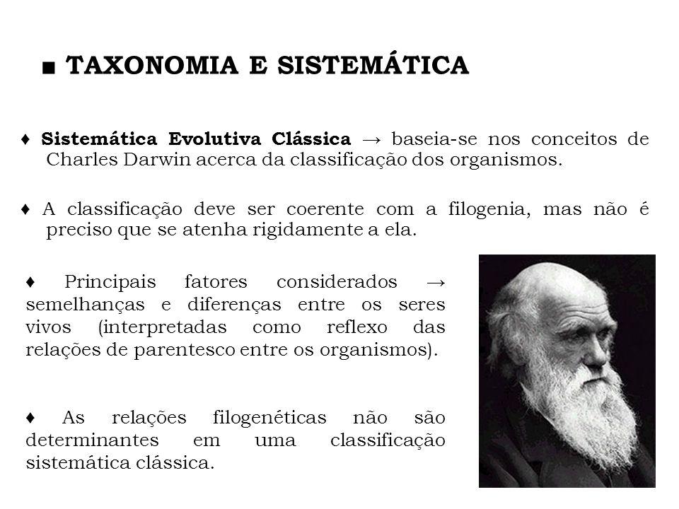 TAXONOMIA E SISTEMÁTICA Sistemática Evolutiva Clássica baseia-se nos conceitos de Charles Darwin acerca da classificação dos organismos. A classificaç