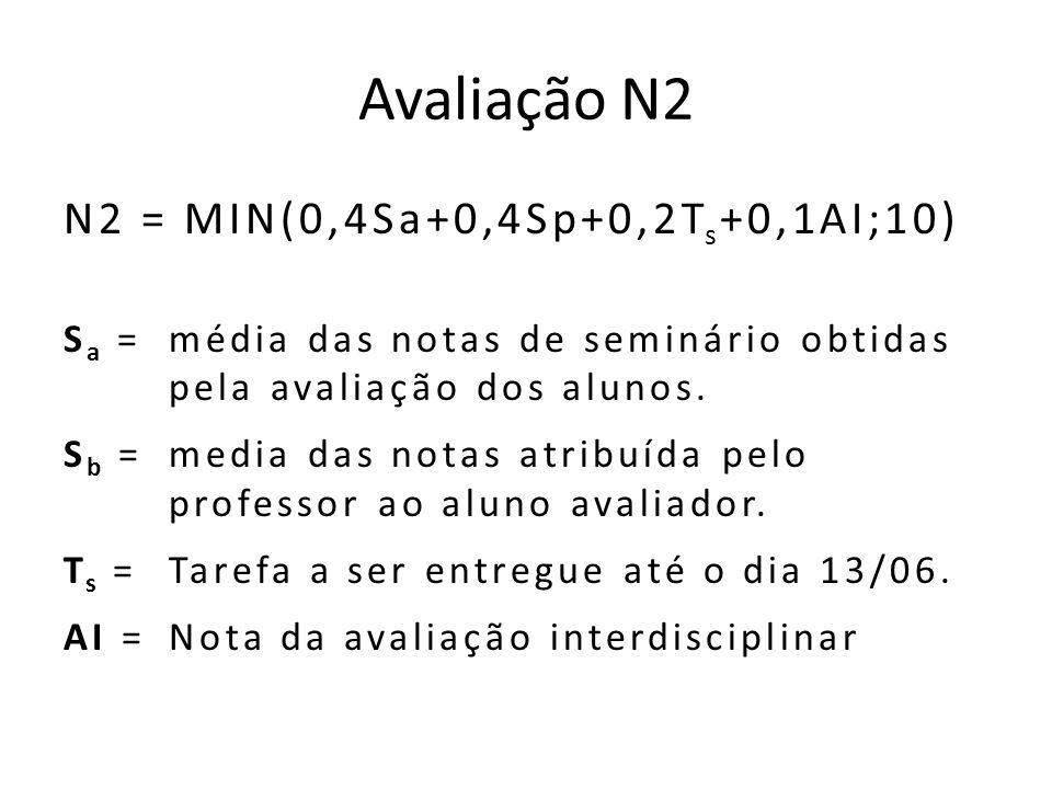 Avaliação N2 N2 = MIN(0,4Sa+0,4Sp+0,2T s +0,1AI;10) S a = média das notas de seminário obtidas pela avaliação dos alunos.