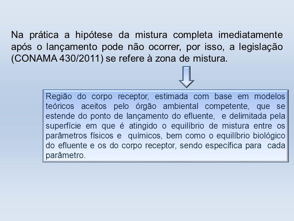 Na prática a hipótese da mistura completa imediatamente após o lançamento pode não ocorrer, por isso, a legislação (CONAMA 430/2011) se refere à zona de mistura.