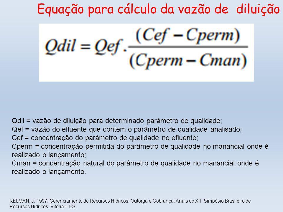 Equação para cálculo da vazão de diluição Qdil = vazão de diluição para determinado parâmetro de qualidade; Qef = vazão do efluente que contém o parâmetro de qualidade analisado; Cef = concentração do parâmetro de qualidade no efluente; Cperm = concentração permitida do parâmetro de qualidade no manancial onde é realizado o lançamento; Cman = concentração natural do parâmetro de qualidade no manancial onde é realizado o lançamento.