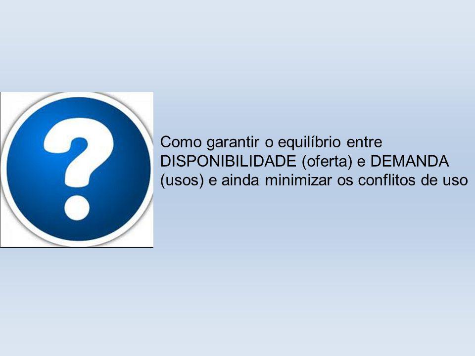 Como garantir o equilíbrio entre DISPONIBILIDADE (oferta) e DEMANDA (usos) e ainda minimizar os conflitos de uso